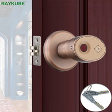 RAYKUBE Biometric Fingerprint Door Lock Knob Smart Keyless Deadbolt Lock Home Office Door Keyed Lock Zinc Alloy R S178