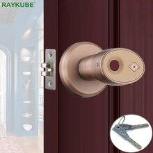 Raykube Biometrische Vingerafdruk Deurslot Knop Smart Keyless Nachtslot Home Office Deur Keyed Lock Zinklegering R S178
