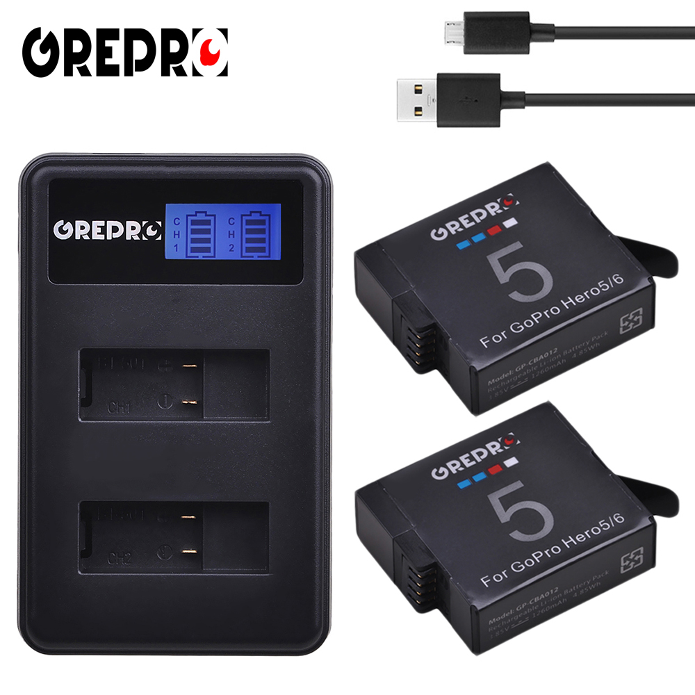 GREPRO 2pcs 1260mAh GoPro Hero 5 GoPro Hero 6 Camera Battery+LCD Dual USB Charger for GoPro Hero5 6 Black AHDBT-501 Batterie цена