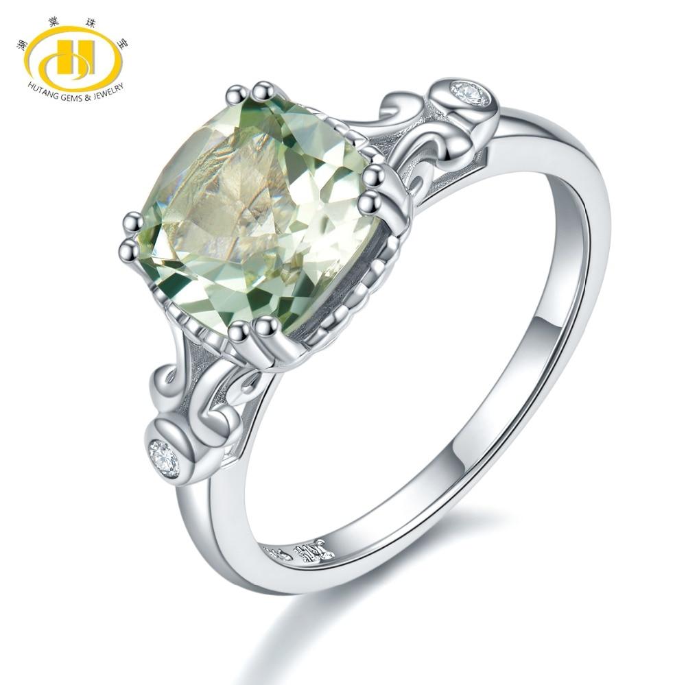 100% Wahr Hutang Stein Hochzeit Ringe Natürliche Edelstein Grün Amethyst Solide 925 Sterling Silber Kristall Ring Edlen Schmuck Für Frauen Mädchen Hitze Und Durst Lindern.