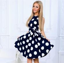 Women Polka Dot Dress Sleeveless O Neck Dresses Sweet Retro Vintage Party Dress Vestidos Robe with belt цена в Москве и Питере