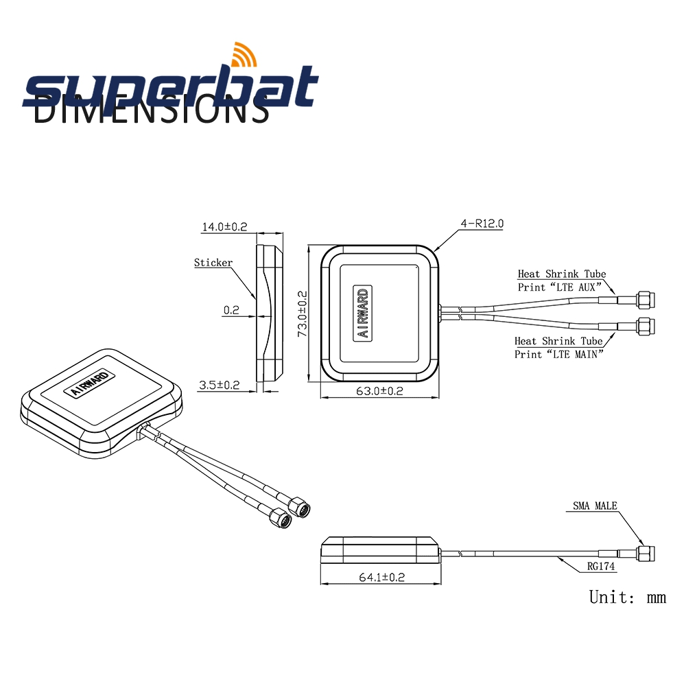 Image 5 - Superbat Low Profile 4G LTE MIMO Omni directional Dual SMA Male Antenna for Huawei Sierra Netgear ZTE Novatel D Link 4G LTE WireCommunications Antennas   - AliExpress