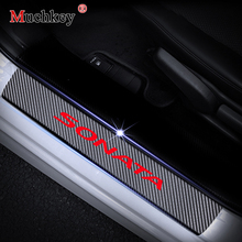 For Hyundai SONATA 4D Carbon Fiber Vinyl Stickers Car Accessories Door Sill Protector Scuff Plate 4Pcs