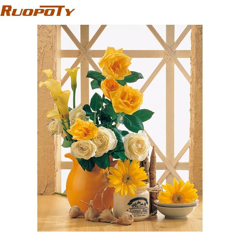 ROPOPY צהוב שקיעה פרח Diy ציור על ידי - עיצוב לבית