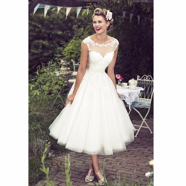 Us 129 0 Cap Sleeve Scoop Neck Lace Applique A Line Tea Length Beach Wedding Dress Bridal Gowns Vestido De Noiva In Wedding Dresses From Weddings