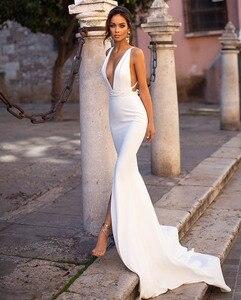 Image 3 - Smileven Mermaid Wedding Dress Spandex Sleeveless Sexy Deep V Neck Beach Bride Dresses Train Elegant Wedding Boho Bridal Gowns