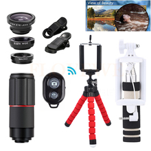 Buy With Clips Camera lentes Kit 8X Zoom Telephoto Lenses Telescope Fish eye Wide Angle Macro Lens For iPhone Xiaomi Samsung LG