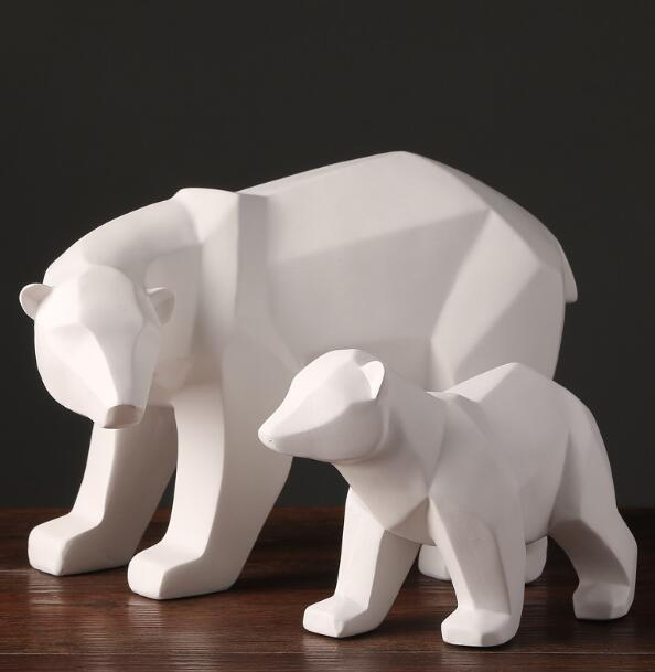 simple white abstract geometric polar bears sculpture ornaments modern home decorations gift crafts ornamentation statue