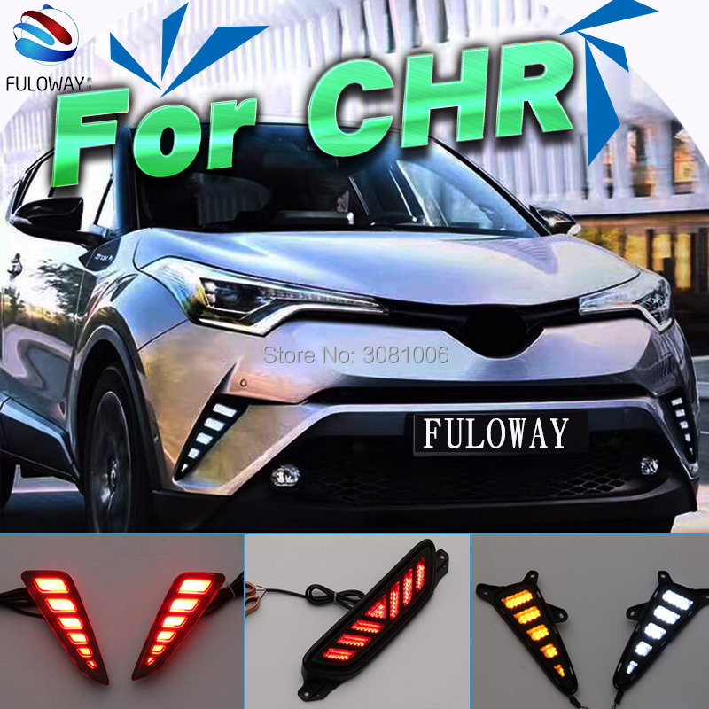 LED DRL Daytime Running Lights Rear Bumper Fog Lamp Turning Signal Brake Taillight Warning Light For Toyota CHR C-HR 2016 2017 цена в Москве и Питере
