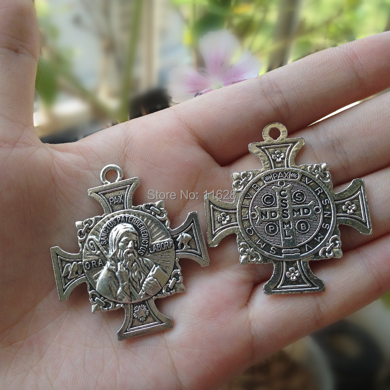 7faac28be7d Detail Feedback Questions about Catholic religious Gifts antique silver plated  Saint St. Benedict St Medals cross Pendant sanctus pater benedictus40mm on  ...