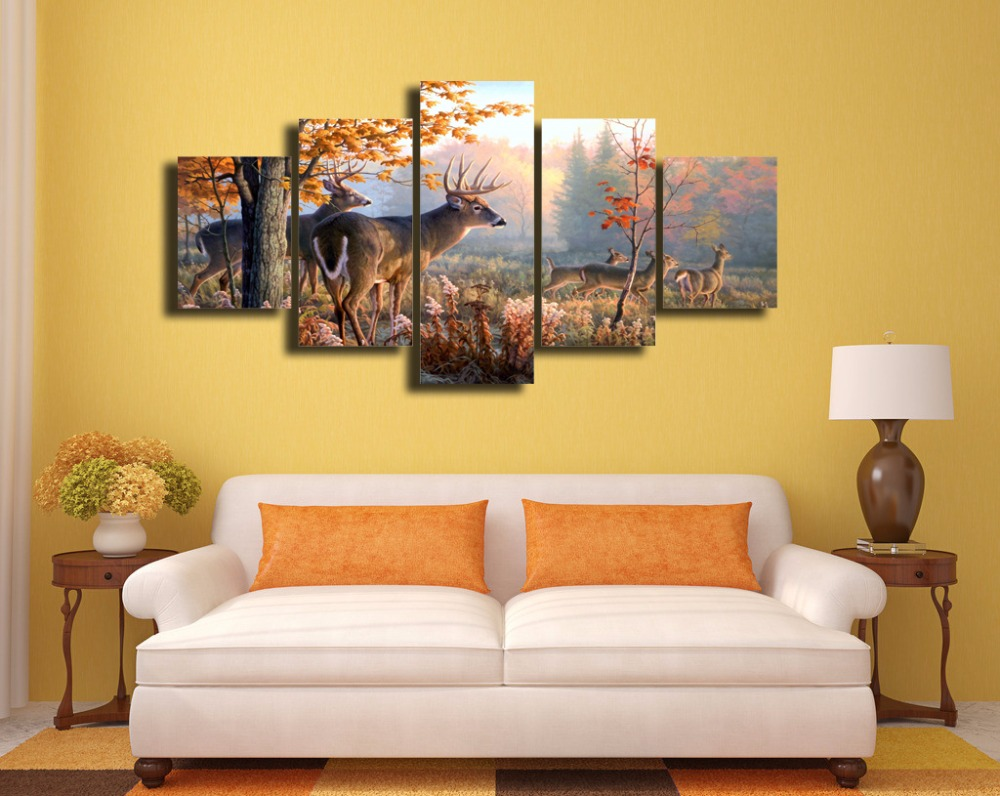 5 Pieces/set Whitetail Deer hd Print Canvas Painting Wall Art for ...