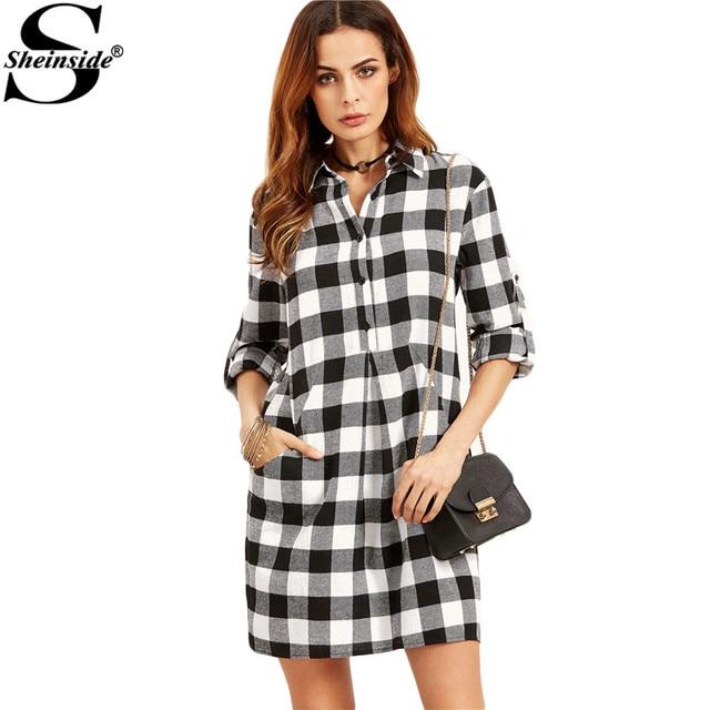 b6b87bf0b9 Sheinside Black And White Checkered Roll Tab Sleeve Shirt Dress Basic Lapel  Dual Pockets Shift Short