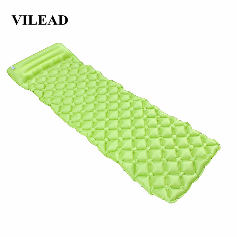 VILEAD Ultralight Inflatable Camping Mat 185X55cm Automatic Cushion Sleeping Pad Outdoor Air Bed Self drive Travel With Pillow-in Camping Mat from Sports & Entertainment
