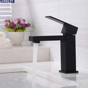 Image 1 - AODEYI banyo lavabo musluğu katı pirinç sıcak ve soğuk su mikser yüksek musluk tek kolu musluklar mat siyah kare lavabo muslukları