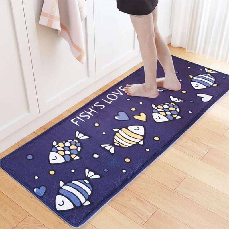 Cartoon Deep Sea Fish Carpet Absorbent Slip Resistant Kitchen Bath Mats Living Room Floor Rug Home Decoration Rectangle Doormat