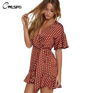 e19fa8977 CWLSP Sexy Dress for Women Ruffles Summer Mini dress