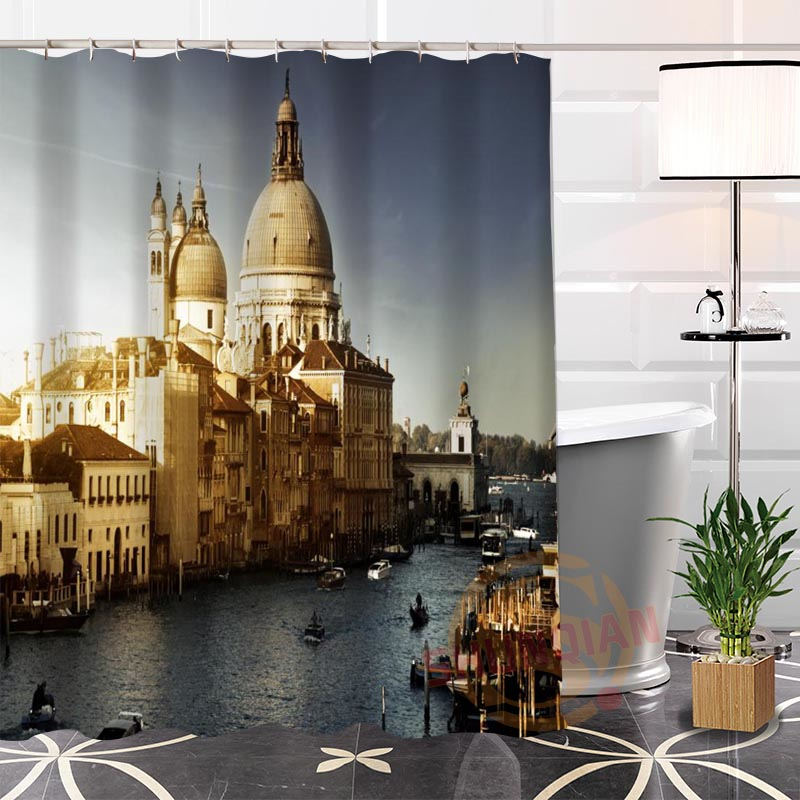 Popular Eco-friendly Custom Unique Italy building Fabric Modern Shower Curtain bathroom Waterproof for yourself H0220-123
