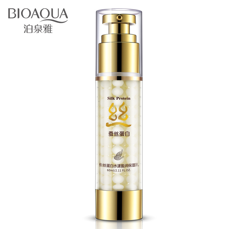 BIOAQUA Moisturizing Cream Silk Protein Essence Hydrating Face Cream Oil-control Shrink Pores Anti Wrinkle Skin Care Serum 60ml men skin care cream set 3pcs lot cleanser toner emulsion moisturizing oil control shrink pores anti wrinkle face care