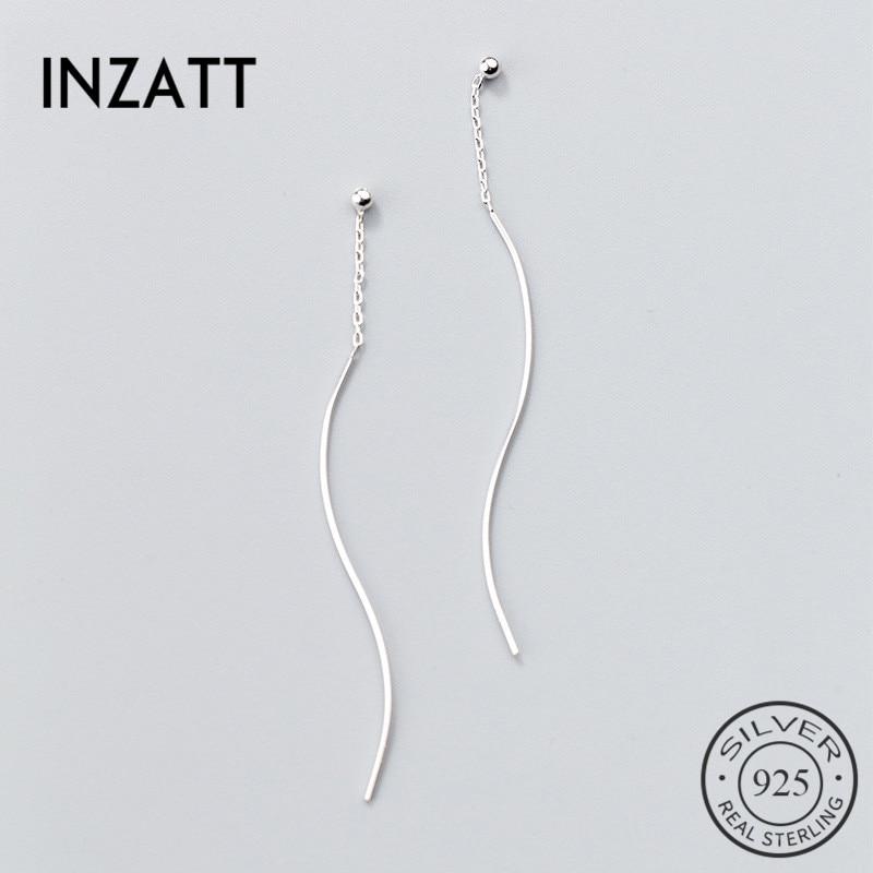 INZATT Real 925 Sterling Silver MInimalist Geometric Twisted Stick Tassel Drop Earrings For Women Fine Jewelry OL Accessories