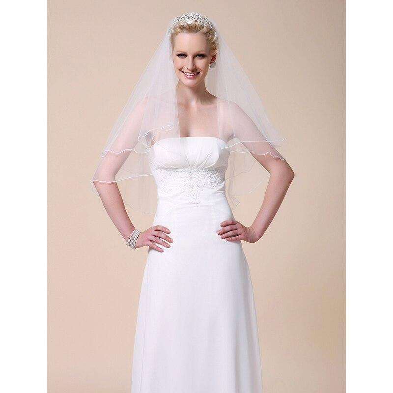 LAN TING BRIDE Duas Camadas Borda Lpis Vus de Noiva Vu Cotovelo Vu para Cabelo Curto Com 31,5 cm (80cm) Tule Linha-A, Vestido