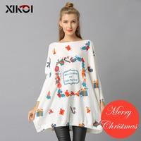 XIKOI 2018 Feliz Ano Novo da Mulher De Malha De Natal Camisolas Pullovers Casual Imprimir Sueter Mujer Camisola de tricô Pulôver de Navidad