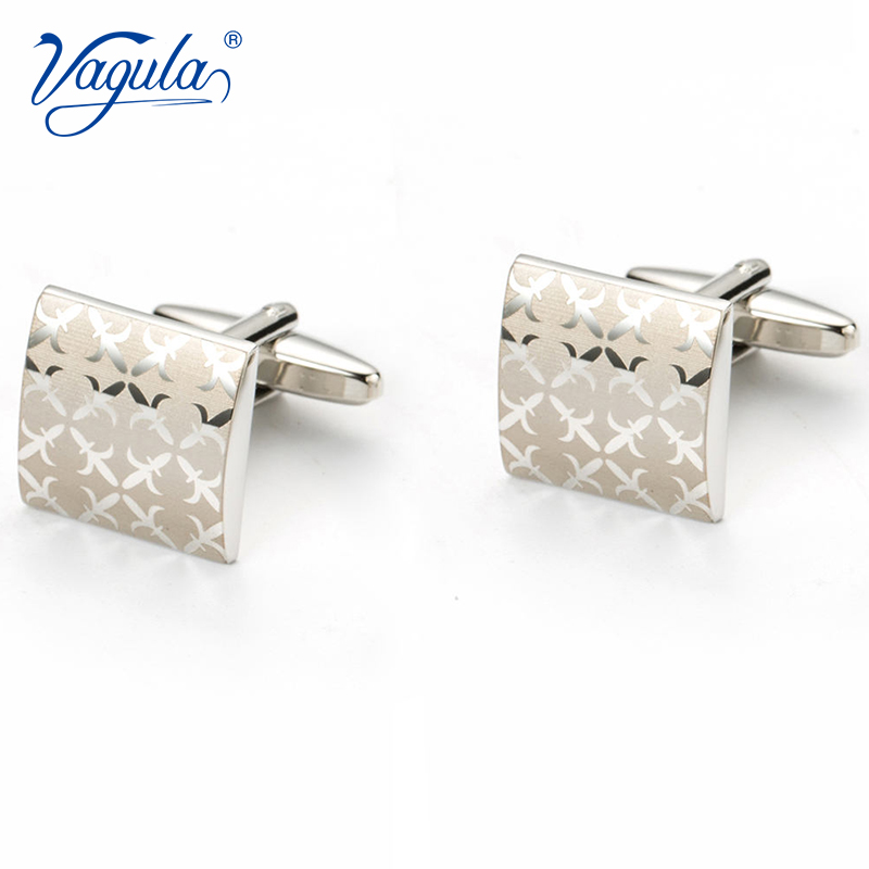 VAGULA Gemelos Classic Silver-color Laser Copper Men's Cufflink Luxury Gift Party Wedding Suit Shirt Button  Cuff Links 197