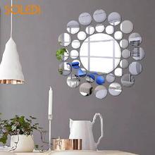 33 шт./компл. акриловые наклейки на стену 3D Зеркало Wall Art Современные круглые Форма самоклеящиеся обои