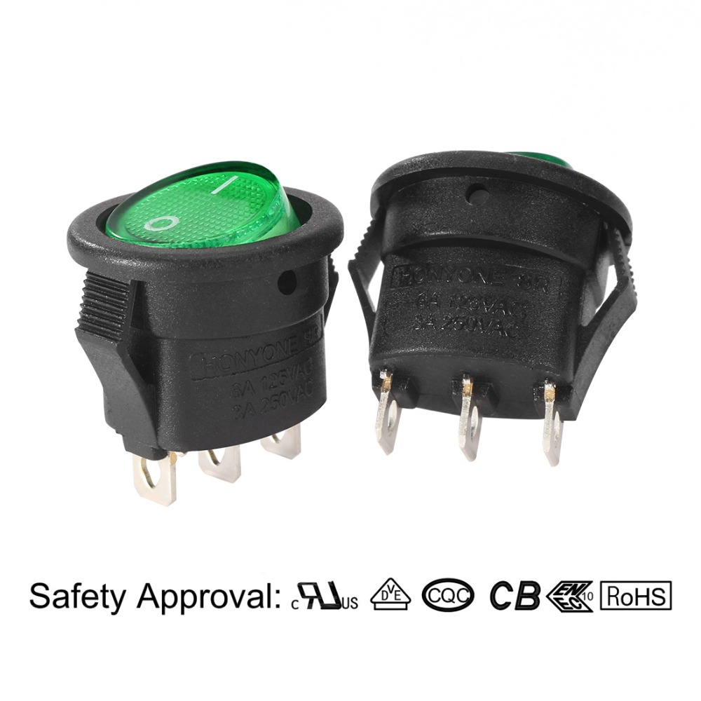 New 10Pcs/lot Mini AC 250V/3A 125V/6A 3 Pins SPST 2 Position On/Off Green Lights LED Illuminated Rocker Switch Toggle Round Boat new 5pcs lot 2 pin snap in on off position snap boat button switch 12v 110v 250v t1405re p12 0 3