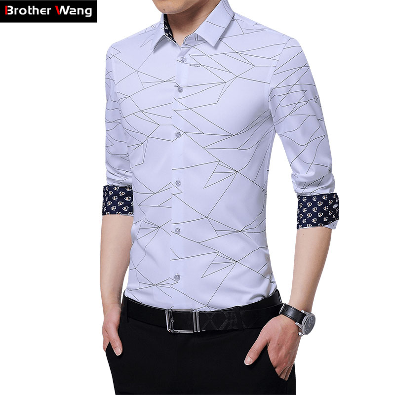 Brother Wang 2017 New Men s Casual Shirt Fashion Print Slim Business Men Long Sleeve Shirt