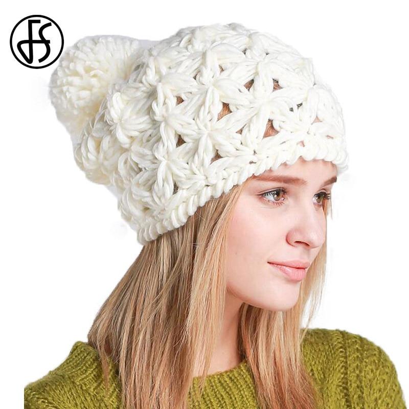 FS Fashion Winter Wool Skullies Beanies Knit Crochet Cap For Women ...