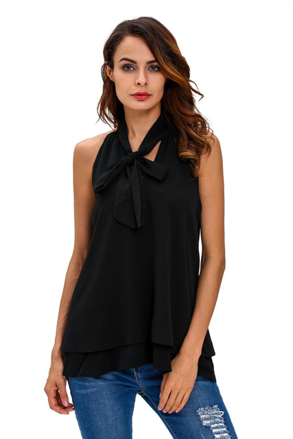 clubwear office work wear clothes for women Halterneck tops casual autumn Double Cascading Ruffle Neck Tie Sleeveless Top 25826