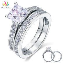 Pavo real Estrella 1.5 Ct de Princesa Cut Creado Diamante 2-pc Esterlina del Sólido 925 de Plata Wedding Promise Anillo de Compromiso Set CFR8009S
