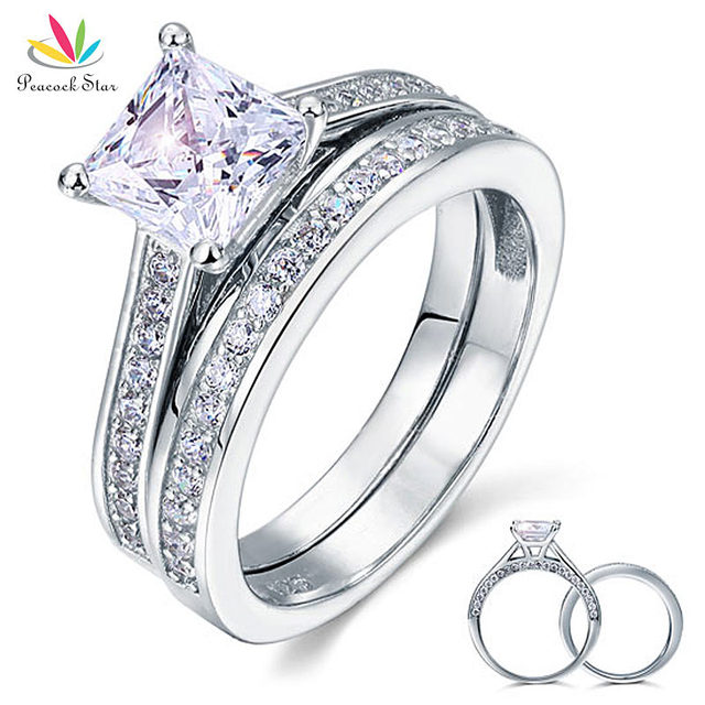 Peacock Star 1.5 Ct Princess Cut Created Diamond Solid 925 Sterling Silver 2-Pcs Wedding Promise Engagement Ring Set CFR8009S
