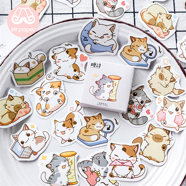 Mr.paper 45pcs/box 24 patterns Cute Children Stickers Scrapbooking Kawaii Cartoon Animals Strawberry Deco Stationery Stickers G