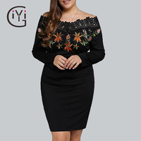 GIYI Plus Size 5XL Embroidered Off Shoulder Dress Women Long Sleeve Black Crochet Embroidery Bodycon Dress