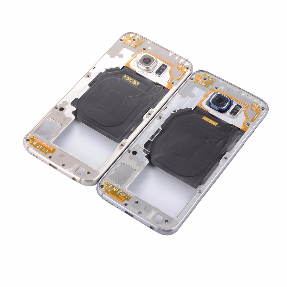 For Samsung Galaxy S6 G920 SM-G920 G920F G920A G920P Single Card Metal Middle Bezel Frame Cover Case+Camera Glass+Side Button