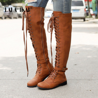 LALA IKAI Women Over The knee Boots Black Pu Leather lace up Boots Female Zipper Cross tied Shoes Buckle Riding Boots XWA6393 4