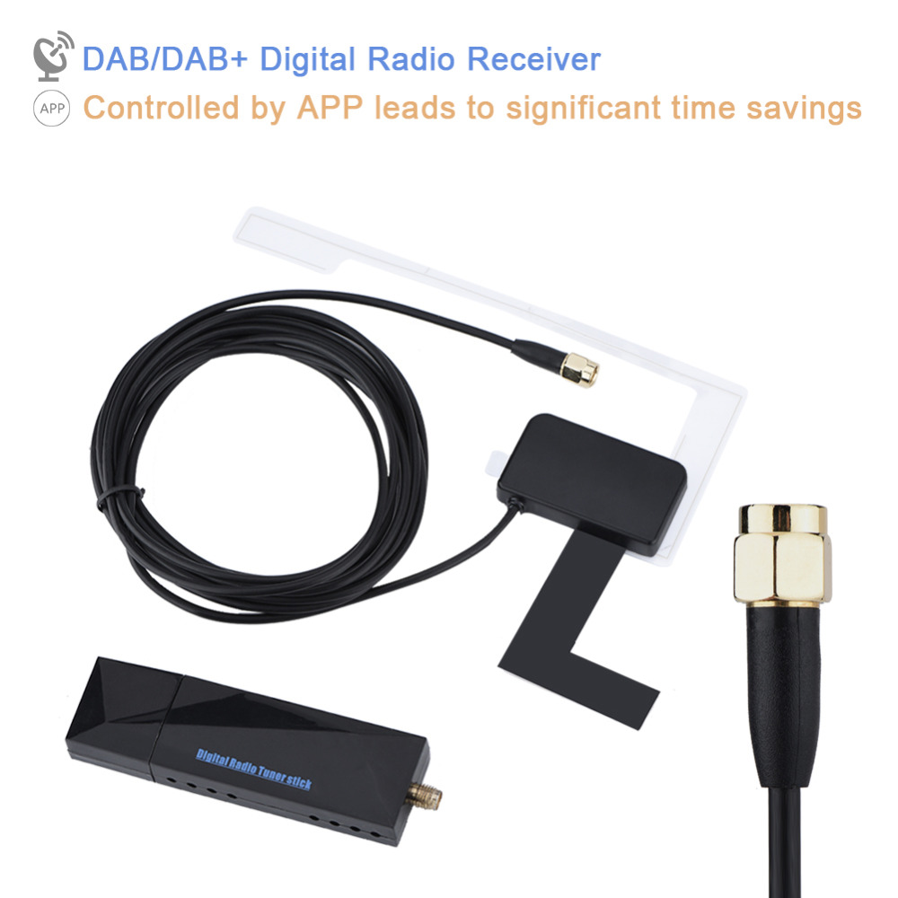 US $30 29 21% OFF|Portable AM/FM SMA DAB/DAB+ Digital Radio Antenna  Receiver Mini USB Port for Car Android System-in Radio from Consumer  Electronics