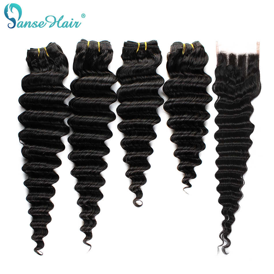 Panse Hair Brazilian Deep Wave Hair Extensions 3 Bundles With A 13*4 Lace Frontal  Non Remy Hair 100% Human Hair weaving