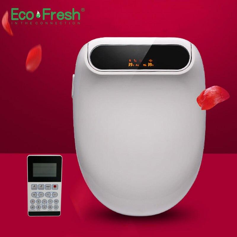 Ecofresh Intelligent siège de toilette siège de toilette bidet Washlet Bidet Électrique couverture siège de chaleur a mené la lumière Intelligente couvercle de toilette auto