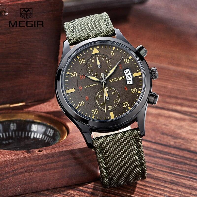 2696e8f874f9 Reloj Megir para hombre relojes de cuarzo verde de lujo de marca superior  reloj deportivo para hombre reloj de pulsera cronógrafo para hombre reloj  ...