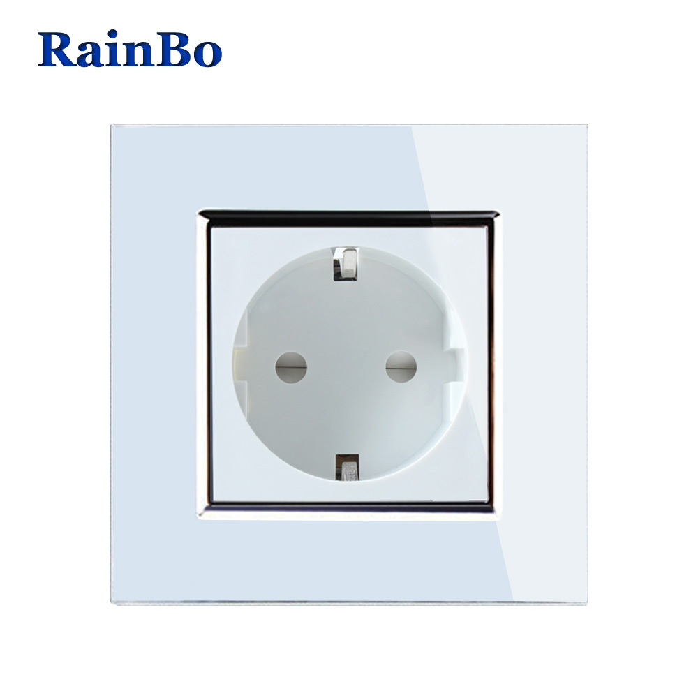 RainBo Brand NEW EU Wall Socket EU Standard Power Socket White Crystal Glass Panel AC 110~250V 16A Wall Power Socket A18EW/B ac 200v 250v 16a ip44 2p e 3 terminal female industrial caravan panel socket