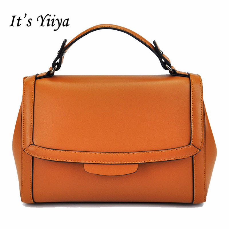 It's YiiYa Popular Brown Black Women Genuine Leather HandBag Vintage Fashion Casual Girls Messenger Bags With Solid Bag SS914