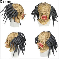 XCOSER Predator Mask Latex Horror Movie Cosplay Mask for Halloween Party Adults Scary Zombie Mask Fancy dress props