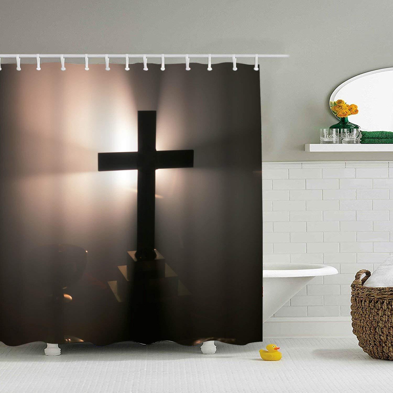 Dreaming Jesus Calvary Cross Shower Curtain Creative Mildew