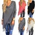 Women Long Sleeve Irregular Hem Tassels Cardigan Female Casual Loose Sweater Outwear Jakcet Poncho Coat