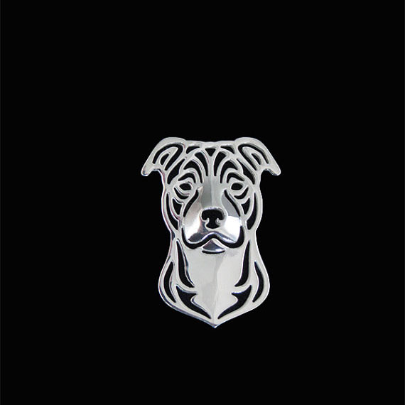 Staffordshire Bull Terrier brooch plat silver fashion jewelry free ship