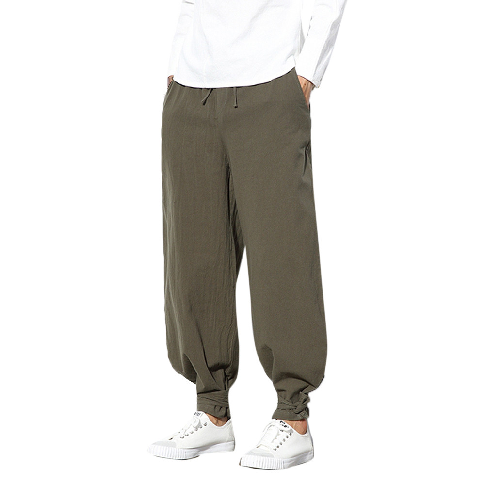 Men's Pure Color Trousers Cotton Linen Small Feet Loose Casual Lantern PantZ0220