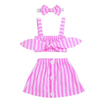 Newborn Baby Girls Clothing Set Outfits Clothes Suspender Tops + Stripe skirt + Headband 3PCS Cute Baby Girls Summer Clothes Set