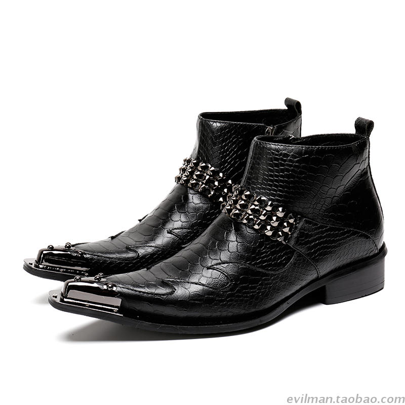 Botines hombre Black Studded Steel Toe Genuine Leather Military Boots Men Metal Decoration Ankle Cowboy Boots Shoes Male Botines hombre Black Studded Steel Toe Genuine Leather Military Boots Men Metal Decoration Ankle Cowboy Boots Shoes Male